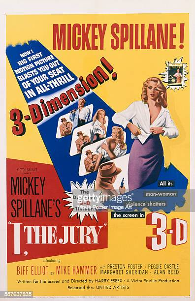 A poster for Harry Essex's 1953 crime film 'I the Jury' starring Peggie Castle
