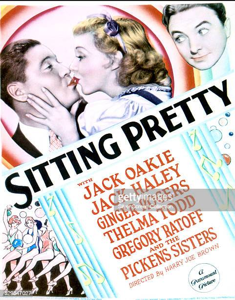 A poster for Harry Joe Brown's 1933 musical comedy 'Sitting Pretty' starring Jack Oakie Ginger Rogers and Jack Haley