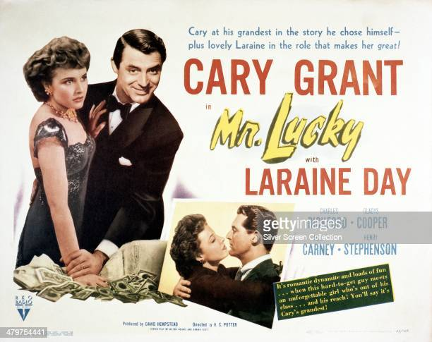 A poster for HC Potter's 1943 comedy 'Mr Lucky' starring Cary Grant and Laraine Day