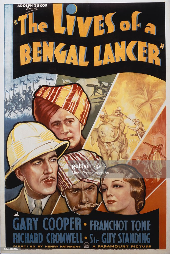 A poster for Henry Hathaway's 1935 adventure film 'The Lives of a Bengal Lancer' starring Gary Cooper, Franchot Tone, Richard Cromwell, and Guy Standing.