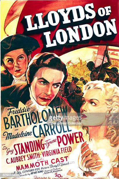A poster for Henry King's 1936 drama film 'Lloyds Of London' starring Tyrone Power Madeleine Carroll and Freddie Bartholomew