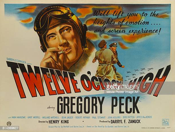 A poster for Henry King's 1949 action film 'Twelve O'Clock High' starring Gregory Peck