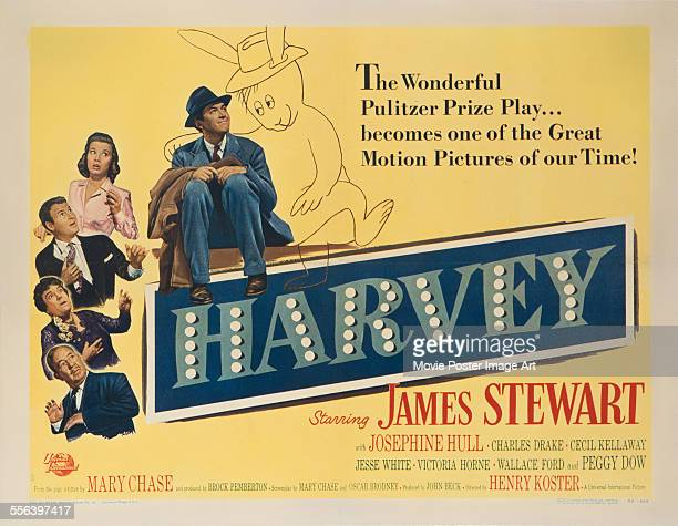 A poster for Henry Koster's 1950 comedy 'Harvey' starring James Stewart