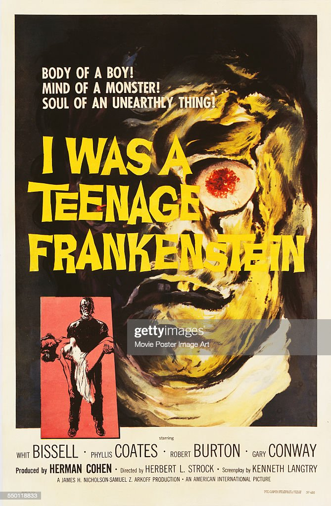A poster for Herbert L. Strock's 1957 horror film 'I Was a Teenage Frankenstein' starring Gary Conway.