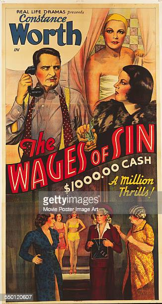 A poster for Herman E Webber's 1938 drama 'The Wages of Sin' starring Constance Worth and Willy Castello