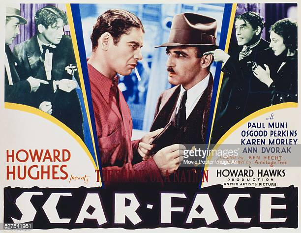 A poster for Howard Hawks' 1932 drama 'Scarface' starring Paul Muni Osgood Perkins and Ann Dvorak