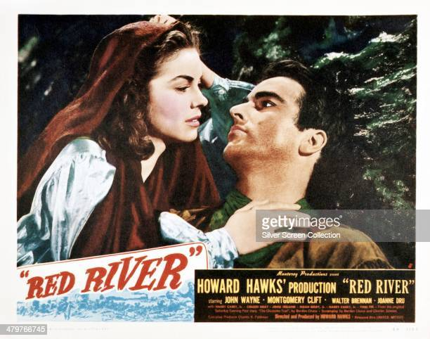 A poster for Howard Hawks' 1948 western 'Red River' featuring Joanne Dru and Montgomery Clift