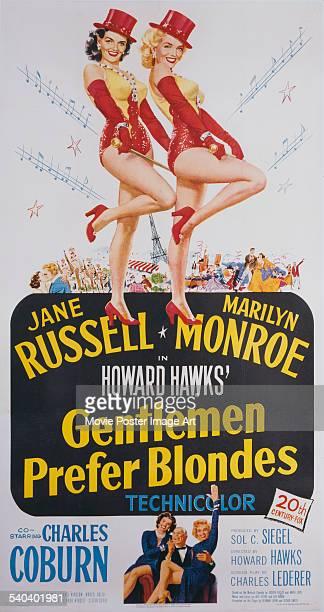A poster for Howard Hawks' 1953 comedy 'Gentlemen Prefer Blondes' starring Jane Russel and Marilyn Monroe