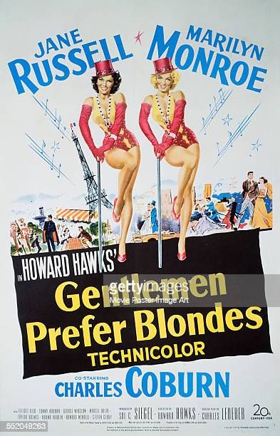 A poster for Howard Hawks' 1953 comedy 'Gentlemen Prefer Blondes' starring Jane Russell and Marilyn Monroe