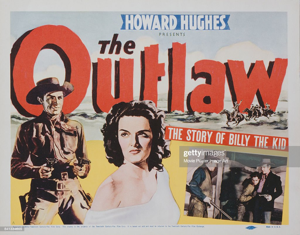 A poster for Howard Hughes' 1943 western 'The Outlaw