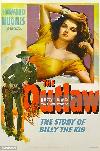 A poster for Howard Hughes' 1943 western 'The Outlaw' starring Jack Buetel and Jane Russell The film was distributed by United Artists