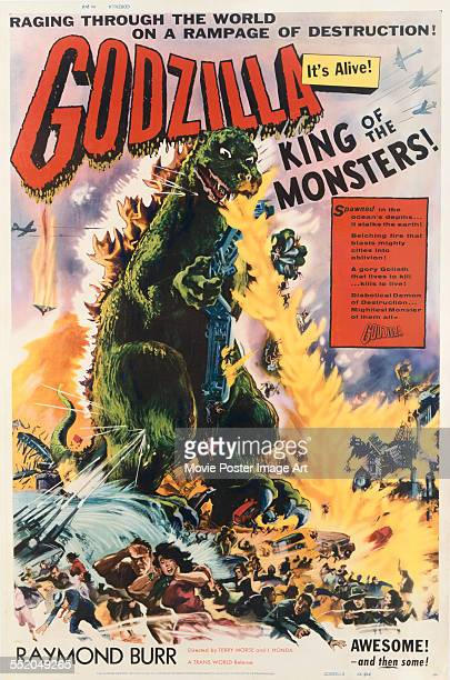 A poster for Ishirô Honda's 1956 action film 'Godzilla King of the Monsters'