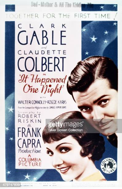 A poster for 'It Happened One Night' directed by Frank Capra and starring Clark Gable and Claudette Colbert 1934