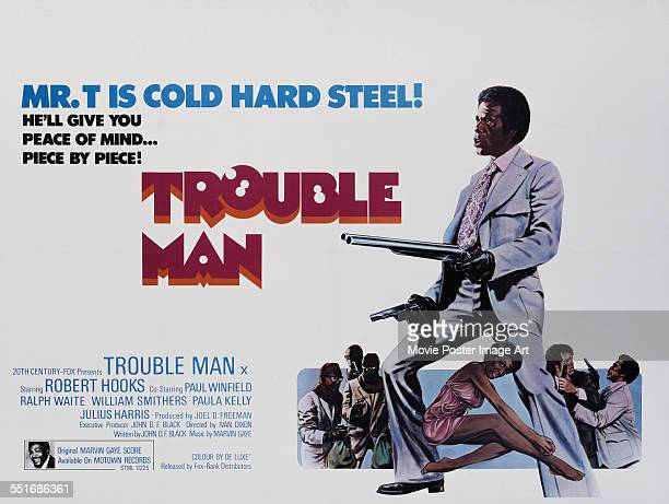 A poster for Ivan Dixon's 1972 action film 'Trouble Man' starring Robert Hooks