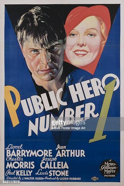 A poster for J Walter Ruben's 1935 crime film 'Public Hero' starring Chester Morris and Jean Arthur