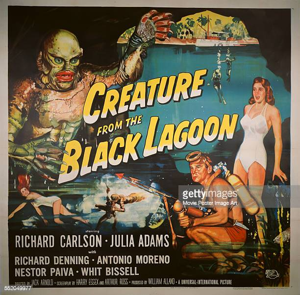 A poster for Jack Arnold's 1954 adventure film 'Creature from the Black Lagoon' starring Richard Carlson and Julie Adams