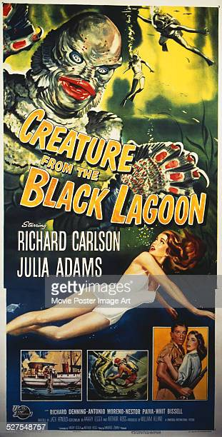 A poster for Jack Arnold's 1954 horror 'Creature from the Black Lagoon' starring Julie Adams