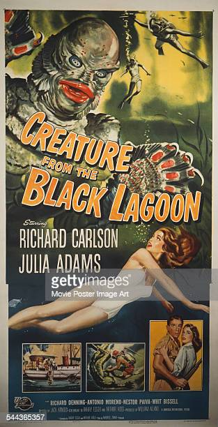 A poster for Jack Arnold's 1954 horror film 'Creature from the Black Lagoon' starring Julie Adams