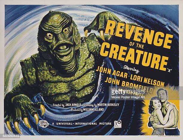 A poster for Jack Arnold's 1955 horror film 'Revenge of the Creature' starring John Agar and Lori Nelson