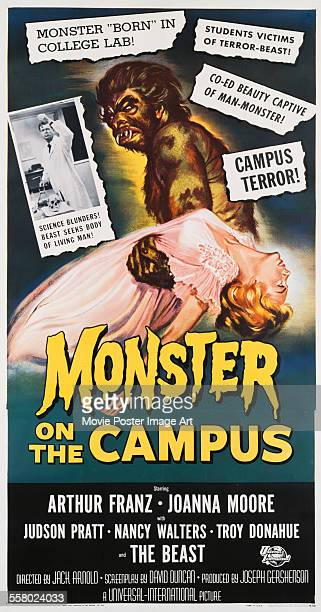 A poster for Jack Arnold's 1958 horror 'Monster on the Campus'