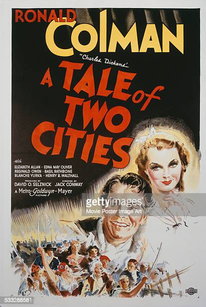 A poster for Jack Conway's 1935 drama 'A Tale of Two Cities' starring Ronald Colman and Elizabeth Allan