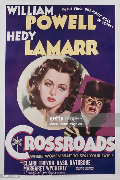 A poster for Jack Conway's 1942 crime film 'Crossroads' starring William Powell and Hedy Lamarr