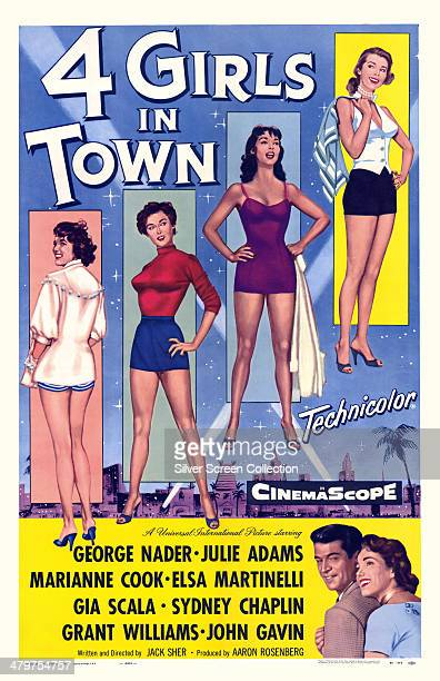 A poster for Jack Sher's 1957 film 'Four Girls In Town' starring George Nader Julie Adams Marianne Koch Gia Scala and Elsa Martinelli