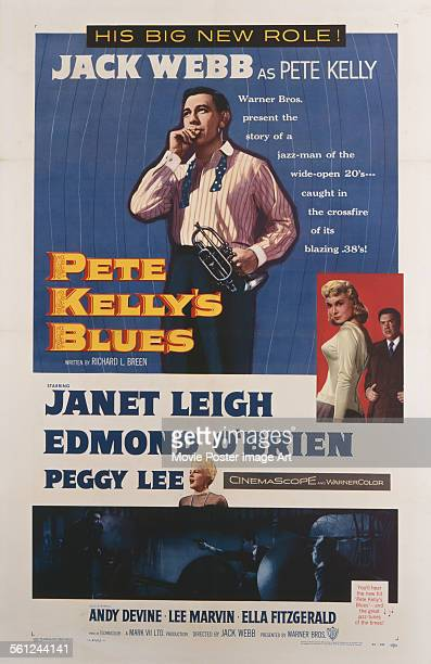 A poster for Jack Webb's 1955 crime film 'Pete Kelly's Blues' starring Jack Webb Janet Leigh Peggy Lee and Edmond O'Brien