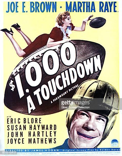 A poster for James P Hogan's 1939 sports comedy '$1000 a Touchdown' starring Joe E Brown and Martha Raye