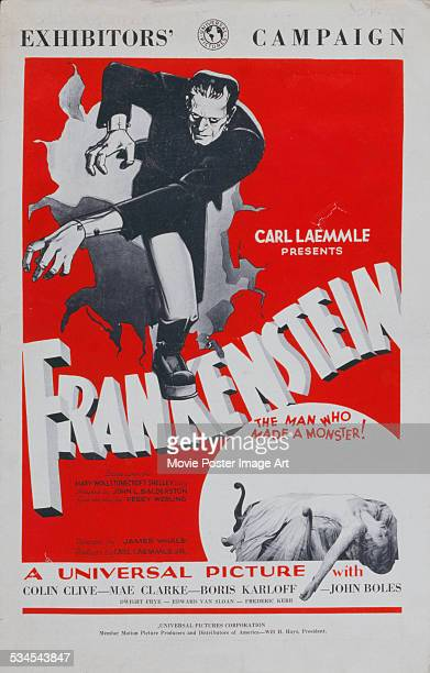 A poster for James Whale's 1931 horror film 'Frankenstein' starring Boris Karloff and Mae Clarke
