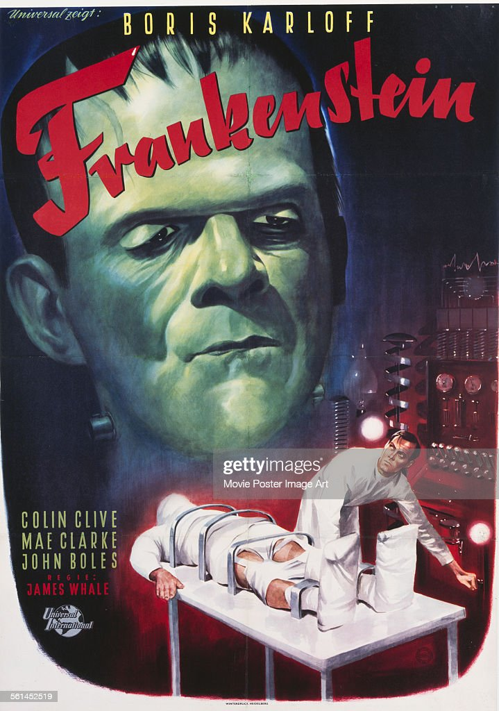A poster for James Whale's 1931 horror film 'Frankenstein' starring Boris Karloff.