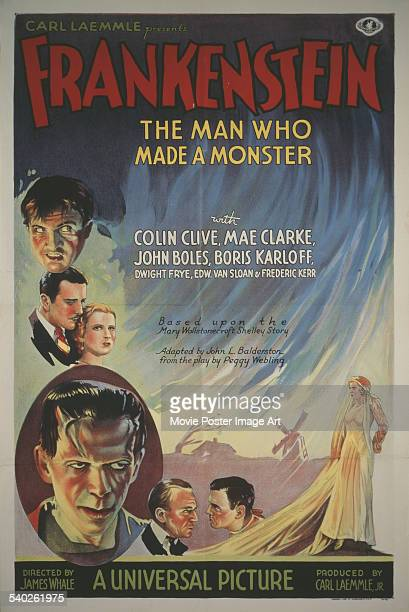A poster for James Whale's 1931 horror film 'Frankenstein' starring Colin Clive Mae Clarke John Boles and Boris Karloff as the monster