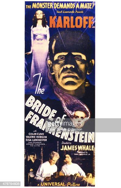 A poster for James Whale's 1935 horror film 'Bride Of Frankenstein' starring Boris Karloff and Elsa Lanchester