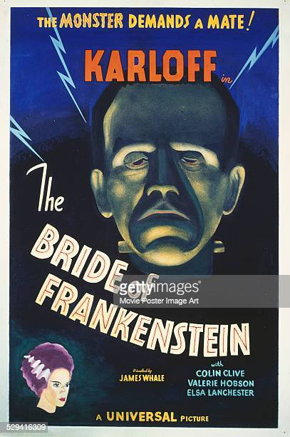A poster for James Whale's 1935 horror film 'The Bride of Frankenstein' starring Boris Karloff and Elsa Lanchester