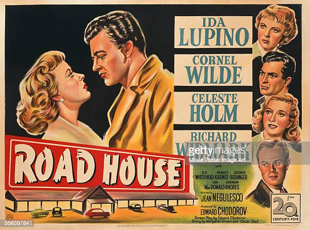 A poster for Jean Negulesco's 1948 action film 'Road House' starring Ida Lupino Celeste Holm Richard Widmark and Cornel Wilde