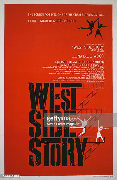 A poster for Jerome Robbins and Robert Wise's 1961 musical film 'West Side Story'