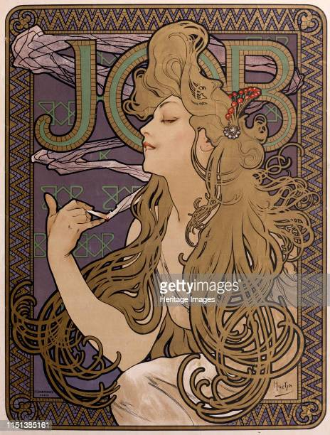 Poster for 'Job' tissue paper, 1897. Found in the collection of the State A Pushkin Museum of Fine Arts, Moscow. Artist Alphonse Mucha.