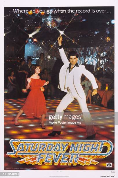 A poster for John Badham's 1977 drama 'Saturday Night Fever' starring John Travolta and Karen Lynn Gorney