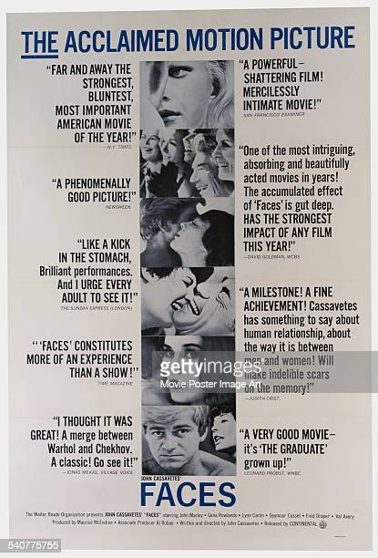 A poster for John Cassavetes' 1968 drama 'Faces' starring John Marley and Gena Rowlands