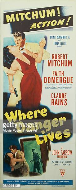 A poster for John Farrow's 1950 film noir 'Where Danger Lives' starring Robert Mitchum and Faith Domergue