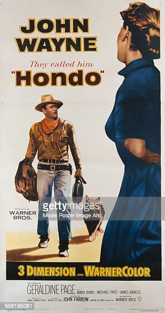 A poster for John Farrow's 1953 drama 'Hondo' starring John Wayne