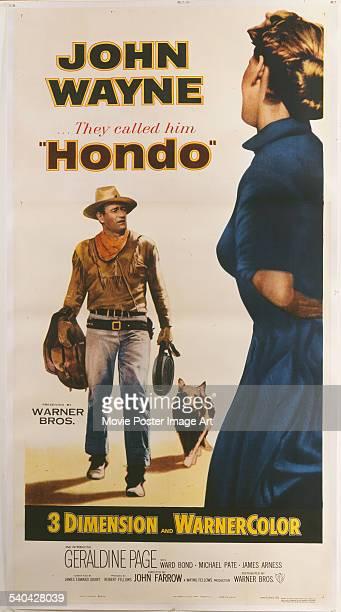 A poster for John Farrow's 1953 western 'Hondo' starring John Wayne The film was released in 3D