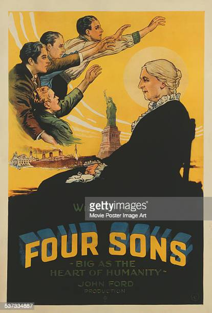 A poster for John Ford's 1928 drama 'Four Sons' starring James Hall Margaret Mann Charles Morton Ralph Bushman and George Meeker
