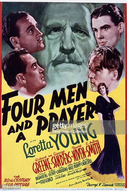 A poster for John Ford's 1938 adventure film 'Four Men And A Prayer' starring George Sanders David Niven C Aubrey Smith Richard Greene J Edward...