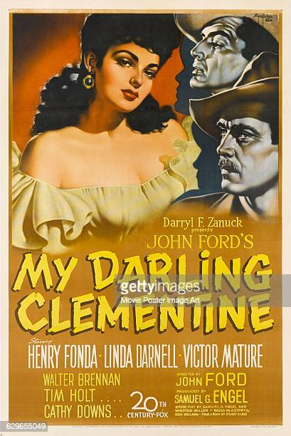 A poster for John Ford's 1946 western 'My Darling Clementine' featuring actors Linda Darnell Henry Ford and Victor Mature The film was produced by...