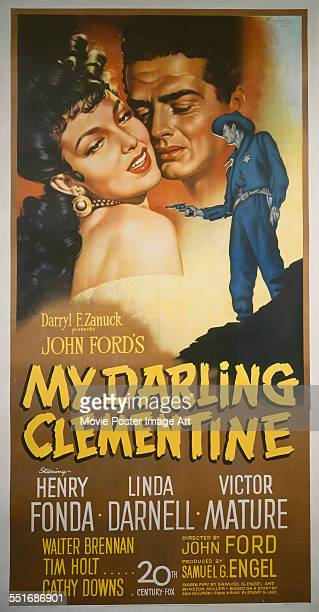 A poster for John Ford's 1946 western 'My Darling Clementine' starring Linda Darnell and Victor Mature