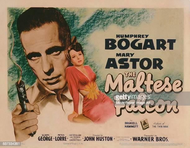 A poster for John Huston's 1941 crime film 'The Maltese Falcon' starring Humphrey Bogart and Mary Astor