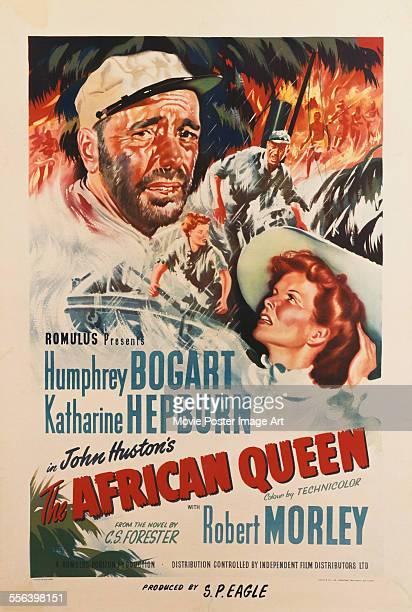 A poster for John Huston's 1951 adventure film 'The African Queen' starring Humphrey Bogart and Katharine Hepburn