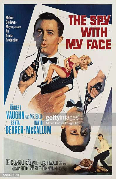 A poster for John Newland's 1965 adventure film 'The Spy with My Face' starring Robert Vaughn