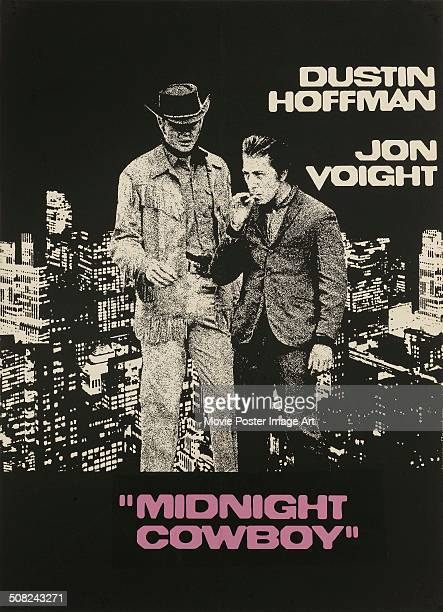 A poster for John Schlesinger's 1969 drama 'Midnight Cowboy' starring Dustin Hoffman and Jon Voight